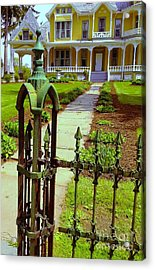 Acrylic Print featuring the photograph Old Green Wrought Iron Gate by Becky Lupe