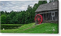 Old Grist Mill Vermont Red Water Wheel Acrylic Print by Edward Fielding