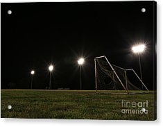 Old Grunge Soccer Goal On A Lit Field At Night Acrylic Print