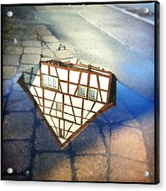 Old Half-timber House Upside Down - Water Reflection Acrylic Print