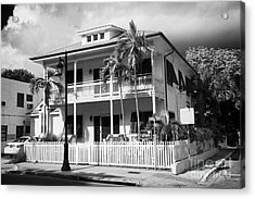 Old Historic Wooden Two Storey Building With White Picket Fence Key West Florida Usa Acrylic Print by Joe Fox