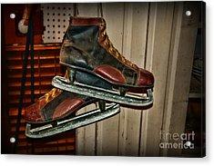 Old Hockey Skates Acrylic Print by Paul Ward
