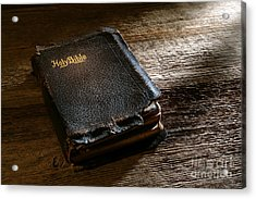 Old Holy Bible Acrylic Print by Olivier Le Queinec