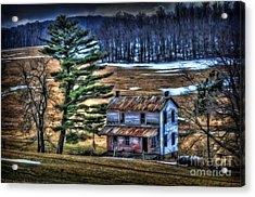 Old Home Place Beside Pine Tree Acrylic Print by Dan Friend