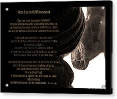 Old Horsewoman Acrylic Print by Mim White