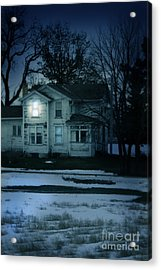 Old House Window Lit At Night Acrylic Print by Jill Battaglia