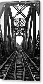 Old Huron River Rxr Bridge Black And White  Acrylic Print
