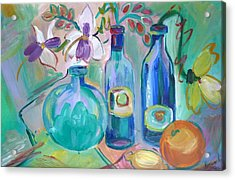 Old Hyacinth Bottle Acrylic Print by Brenda Ruark