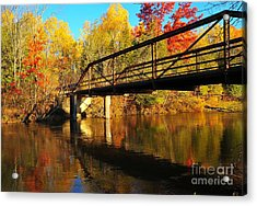 Acrylic Print featuring the photograph Historic Harvey Bridge Over Manistee River In Wexford County Michigan by Terri Gostola