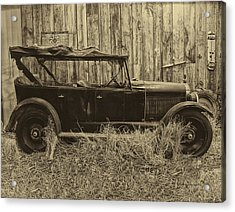 Old Jalopy Behind The Barn Acrylic Print by Thomas Woolworth