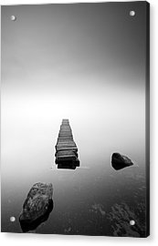 Old Jetty In The Mist Acrylic Print by Grant Glendinning