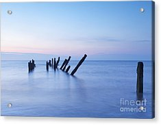 Old Jetty Posts At Sunrise Acrylic Print by Colin and Linda McKie