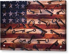 Old Keys On American Flag Acrylic Print by Garry Gay