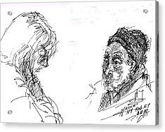 Old Lady With A Lady Acrylic Print by Ylli Haruni