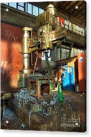 Old Lathe Machine Acrylic Print by Sinisa Botas