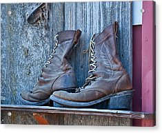 Old Leather Boots Still Life Acrylic Print
