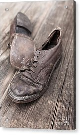 Old Leather Shoes On Wooden Floor Acrylic Print by Edward Fielding
