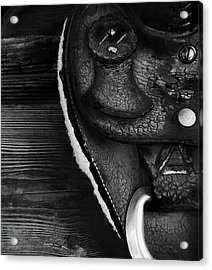 Old Leather - Vintage Saddle In Black And White Acrylic Print
