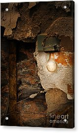 Old Light Fixture On Wall Of Abandoned Building Acrylic Print by Jill Battaglia