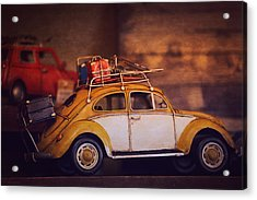 Old Little Yellow Car Acrylic Print by Maria Angelica Maira