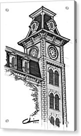 Acrylic Print featuring the drawing Old Main by Calvin Durham