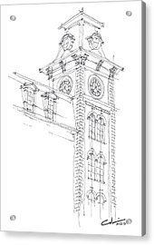 Acrylic Print featuring the drawing Old Main Study by Calvin Durham