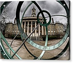 Acrylic Print featuring the photograph Old Main Through The Armillary Sphere by Mark Miller