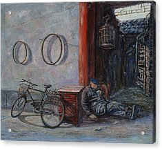 Old Man And His Bike Acrylic Print by Xueling Zou