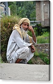 Old Man Carrying Fodder Swat Valley Kpk Pakistan Acrylic Print by Imran Ahmed