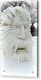 Old Man Winter Snow Sculpture Acrylic Print
