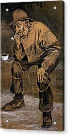 Old Man With A Pipe, 1883 Acrylic Print by Vincent van Gogh