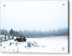 Old Manure Spreader Acrylic Print by Cheryl Baxter