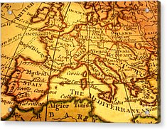 Old Map Of Europe And Mediterranean Acrylic Print by Colin and Linda McKie