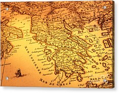 Old Map Of Greece Acrylic Print by Colin and Linda McKie
