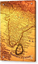 Old Map Of India And Sri Lanka Acrylic Print by Colin and Linda McKie