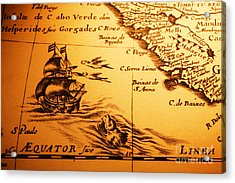 Old Map Sea Monster Sailing Ship Equator Africa Acrylic Print by Colin and Linda McKie