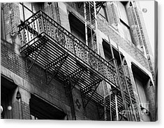 Old Metal Fire Escape Staircase On Side Of Building Greenwich Village New York City Acrylic Print by Joe Fox