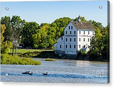 Old Mill On Grand River In Caledonia In Ontario Acrylic Print