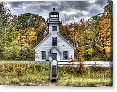Old Mission Lighthouse In Fall Acrylic Print