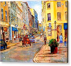Old Montreal Paintings Youville Square Rue De Commune Vieux Port Montreal Street Scene  Acrylic Print by Carole Spandau
