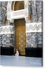 Acrylic Print featuring the photograph Old Muslim Man Reading The Holy Book Quran by Mohamed Elkhamisy