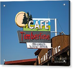 Old Neon Sign In West Yellowstone Acrylic Print by Edward Fielding