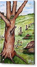 Old Oak Tree With Birds' Nest Acrylic Print