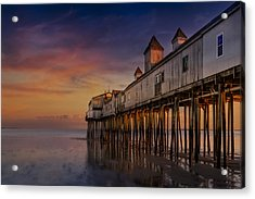 Old Orchard Beach Pier Sunset Acrylic Print