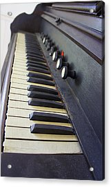 Old Organ Keyboard Acrylic Print by Laurie Perry