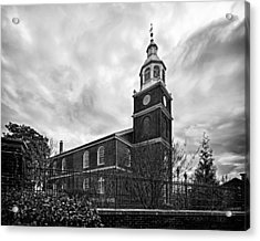 Old Otterbein Church In Black And White Acrylic Print