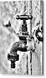 Old Outdoor Tap - Black And White Acrylic Print by Kaye Menner