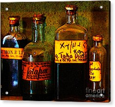 Old Pharmacy Bottles - 20130118 V1b Acrylic Print by Wingsdomain Art and Photography