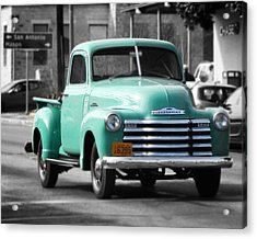 Old Pickup Truck Photo Teal Chevrolet Acrylic Print