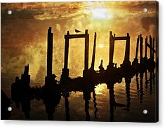Acrylic Print featuring the photograph Old Pier At Sunset by Marty Koch